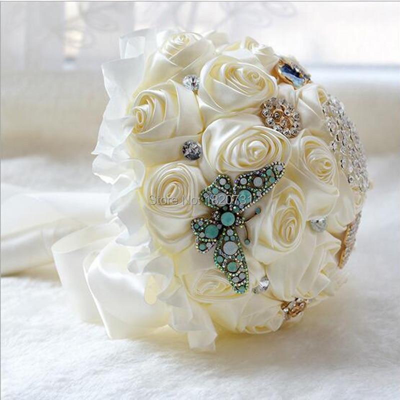 Ramo De novia De moda romántico con flores rosas con cuentas, ramo De flores para damas De honor