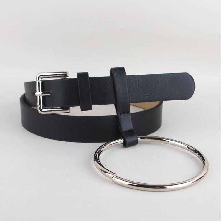 Quente mais novo design feminino cinto de cintura linda feminino grande anel decorado cintos moda feminina pino de ouro fivela sólida alça de couro do plutônio
