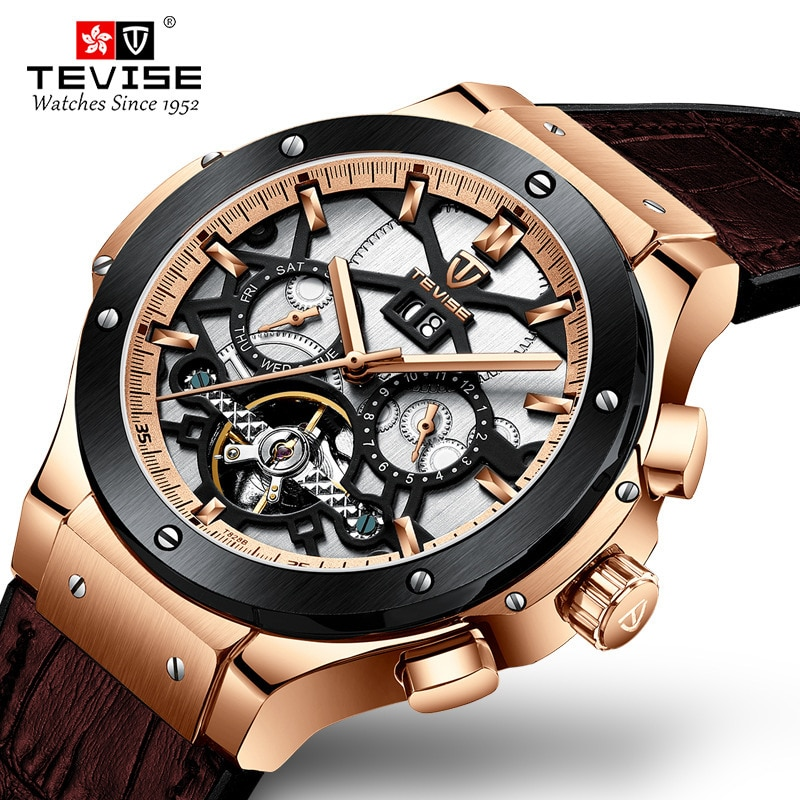 TEVISE Wristwatch Mens Big Men Automatic Mechanical Watch Man Week Month Calendar Rubber Male Clock