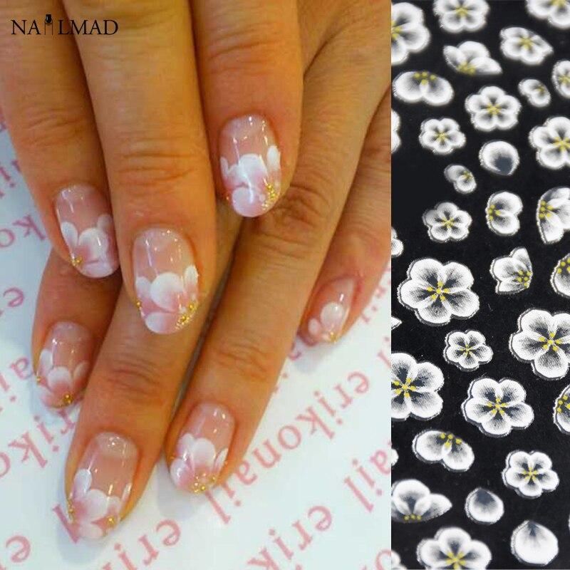 Наклейки для дизайна ногтей, 1 лист, белые кружевные наклейки для ногтей, акриловые наклейки для ногтей с цветами, наклейки для ногтей из розового золота