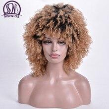 MSIWIGS pelucas rizadas cortas Rubio degradado peluca sintética Afro para mujeres raíz oscura africana americana pelo Natural resistente al calor