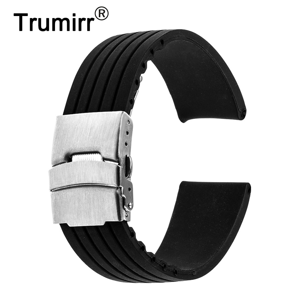17mm 18mm 19mm 20mm 21mm 22mm 23mm 24mm Universal Silikon Gummi Armband Edelstahl Schnalle Uhr Band Resin Armband