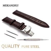 Hight Quality 20mm Watch Band Leather 22mm Men Women Brown Waterproof Watch Strap 16mm Genuine Steel Buckle Black 18mm Watchband