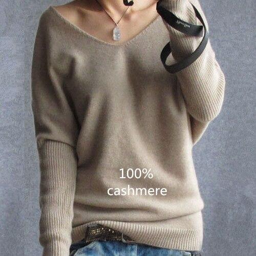 2019 frühling herbst kaschmir pullover frauen mode sexy v-ausschnitt pullover lose 100% wolle pullover batwing hülse plus größe pullover