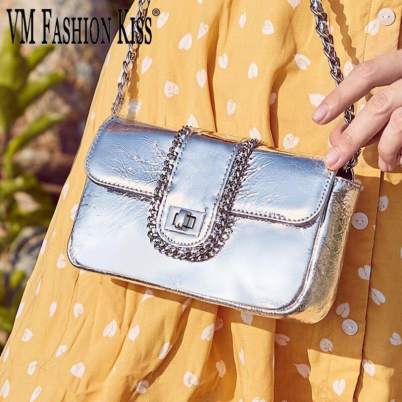 Bolso de mensajero para mujer con cadena y solapa, de piel auténtica, moderno, de VM