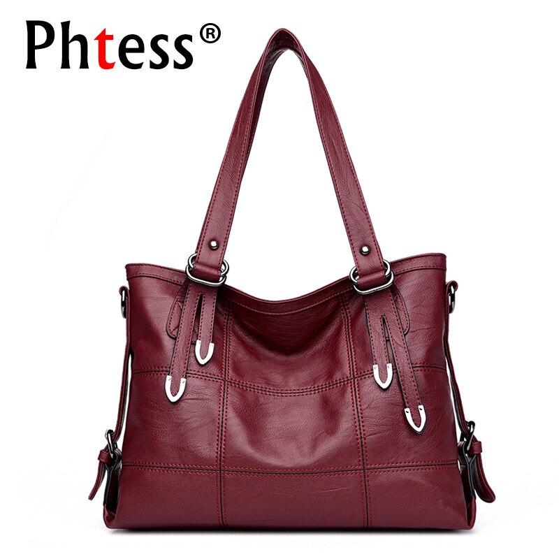 2019 New Top-Handle Bags for Women Leather Handbags Luxury Brand Sac Large Capacity Tote Bag Female Plaid Shoulder Bags Vintage