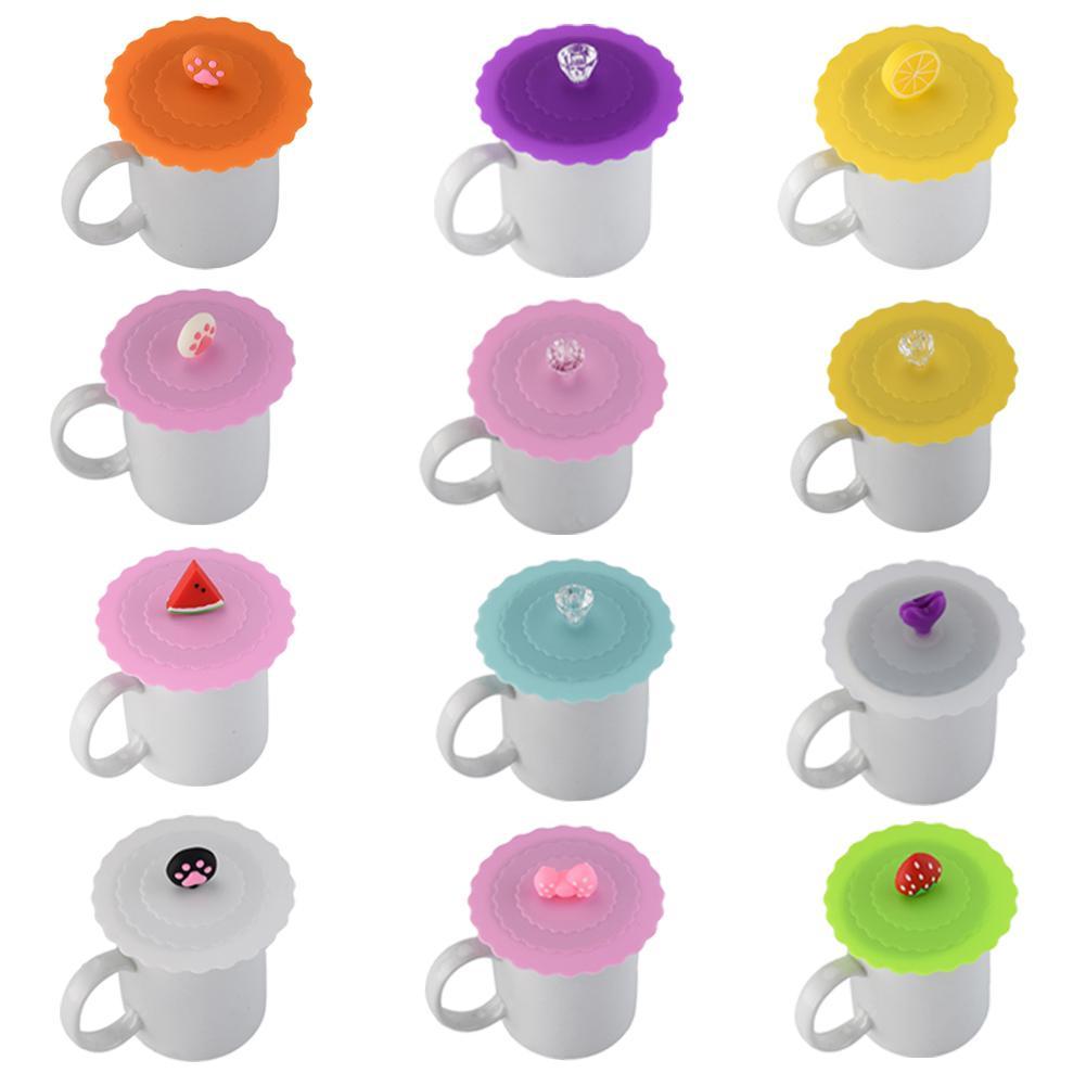 Cute agua potable tapa silicona Anti-polvo cubierta de cuenco taza sellos vidrio tazas tapa resistente al calor taza de té tapas diámetro 10cm