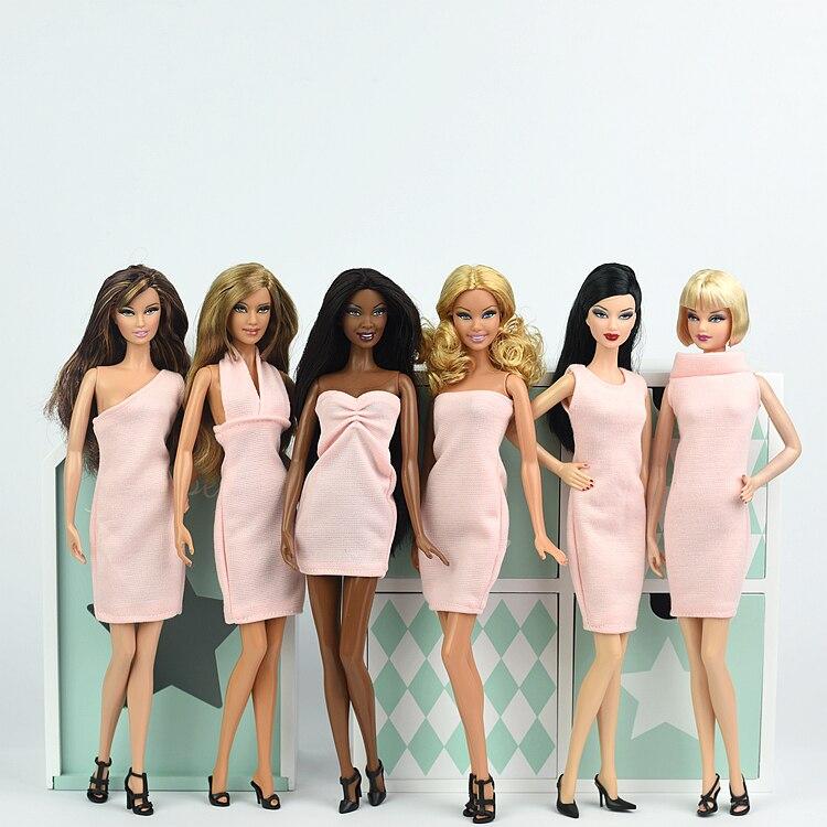 Falda de vestido rosa y blanca, minivestido de fiesta, atuendo de moda para Barbie Xinyi Kurhn FR de 1/6, juguetes de muñeca para niñas, navidad