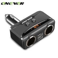 Onever 1 a 2 Encendedor de Cigarrillos Divisor Acoplador Socket con Dual USB 3.1A Adaptador de Cargador de Coche con Soporte cargador rápido más ligero