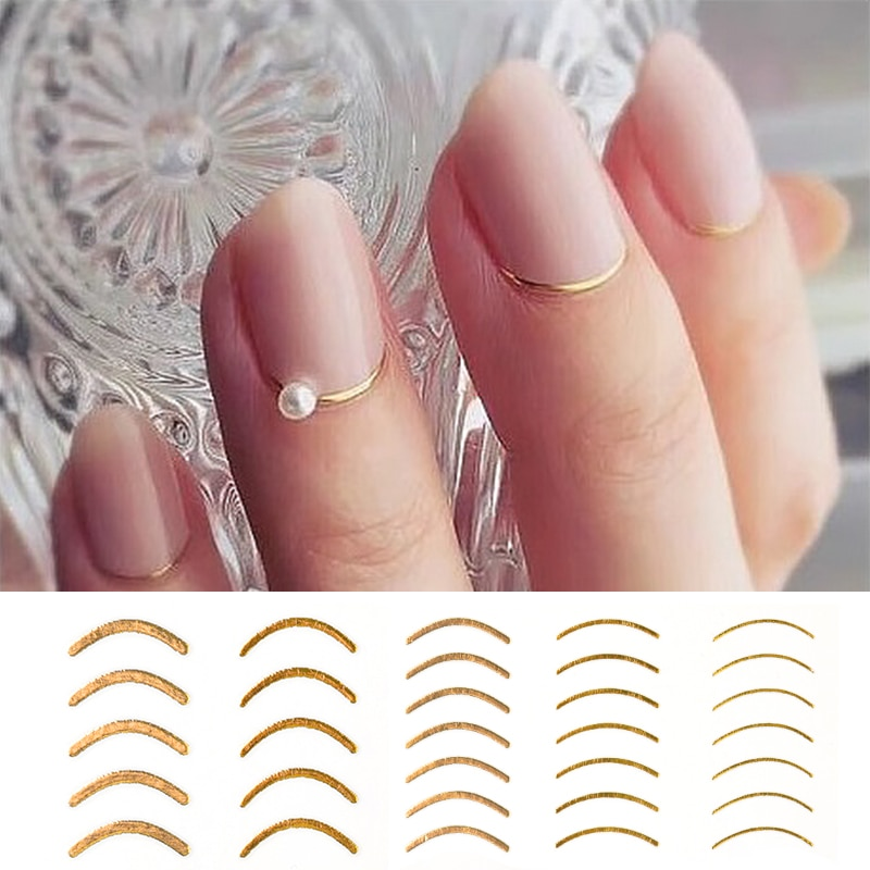 1 sheet gold 3D nail sticker curve stripe lines stickers adhesive band manicure Nail Art