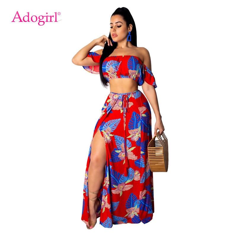Adogirl Leaf Floral Print Casual Two Piece Set Summer Dress Strapless Crop Top + High Slit Maxi Skirt Bohemian Dress Beachwear