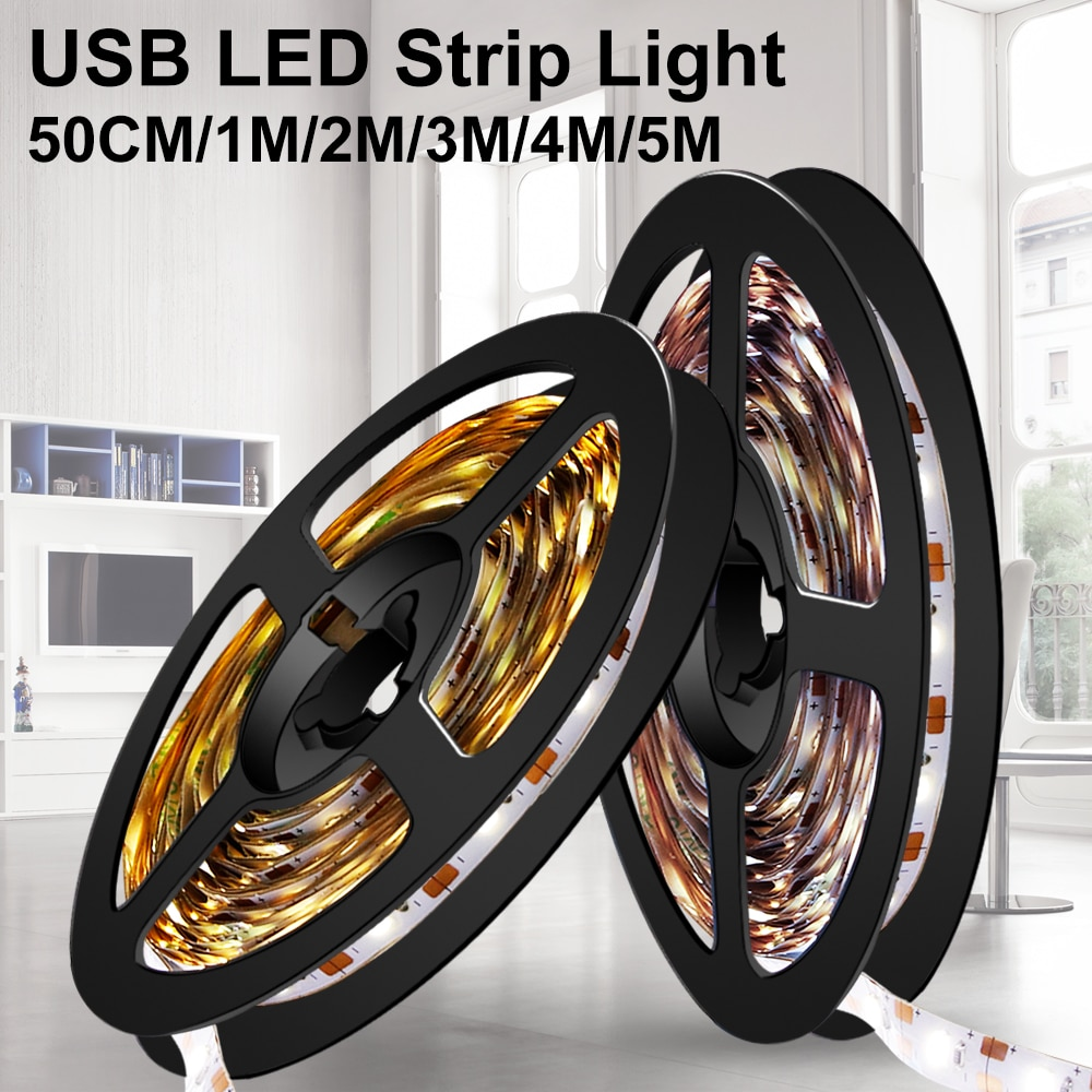 Led Light Strip USB 5V Neon Light Ribbon Fita Led Strip Light Tape Diode 2835 5M TV Background Lighting Decoration Living Room