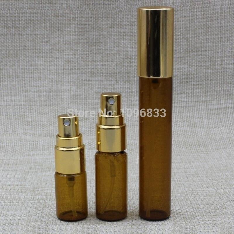 3 мл 5 мл 10 мл янтарно-коричневая стеклянная бутылка Золотая крышка распылитель парфюмерный образец пробный флакон косметические эфирные ма...