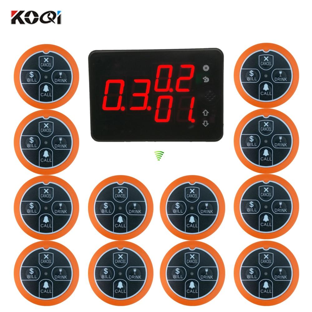 12 pcs bell buzzer 1 desktop LCD receiver Restaurant Service Button Pager System Best Discount Price 433.92Mhz