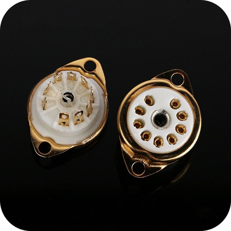1 Pcs Base de Assento De Válvula De Tubo de Vácuo de Cerâmica Pequeno 9 Pin Pé Grande 8 Pé Pin Soquete do Tubo de Placa de Ouro PCB