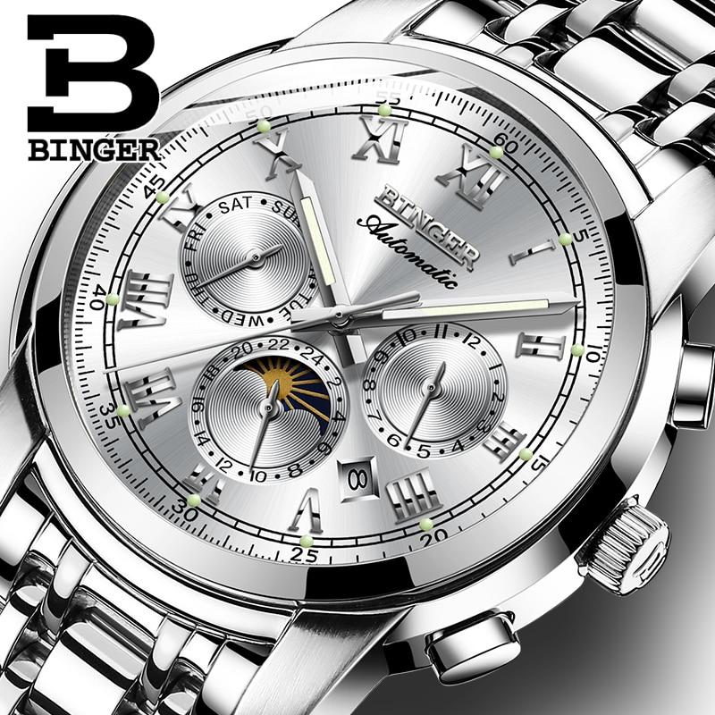 Reloj de zafiro resistente al agua Relogio Masculino Suiza reloj mecánico automático hombres Binger marca de lujo para hombres relojes B1178-4
