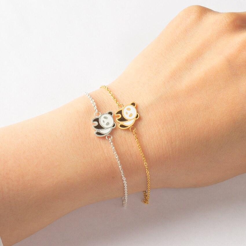 Sweet Panda Bracelet Bangle Ethnic Style Cute Animal Stainless Steel Jewelry Best Friend Graduation Gifts Pulseras Mujer