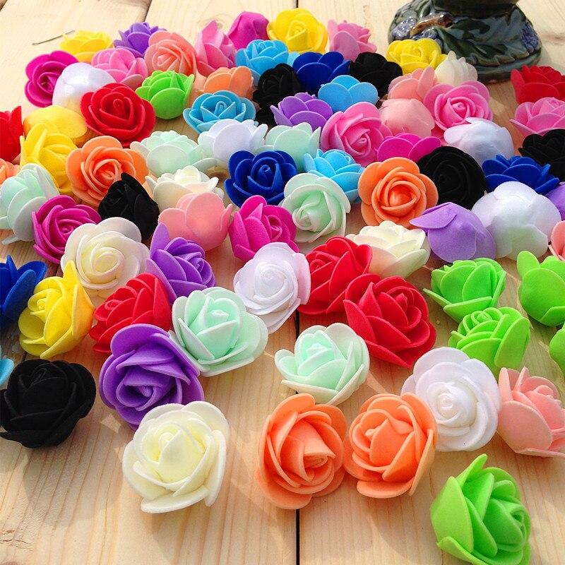 Alta calidad 20 Uds cabezas de flores artificiales Rosas Negras para ramos de boda decoración del hogar lote Mini flores de espuma de Pe cabeza de rosa