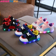 2018 Cool breathable Pu cow breathable children casual shoes LED colorful lighting baby kids sneaker