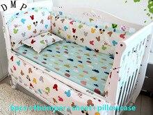 6PCS Cartoon Baby Bedding Set crib cot bedding set cunas crib Quilt Cover kit berço (4bumper+sheet+pillow cover)