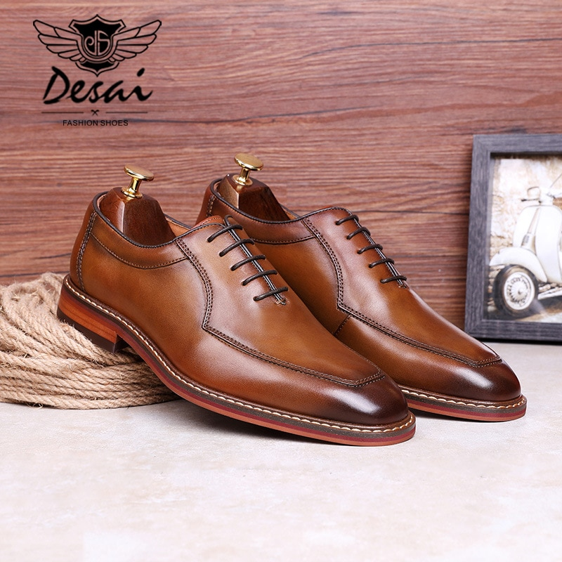 osco 2018 spring summer men shoes youth business british black casual genuine leather breathable dress office shoes men oxford DESAI Hot Genuine Leather Shoes Men Wedding Office Dress Shoes Brown Patina Handmade Lace-Up Shoes Business Oxford Footwear