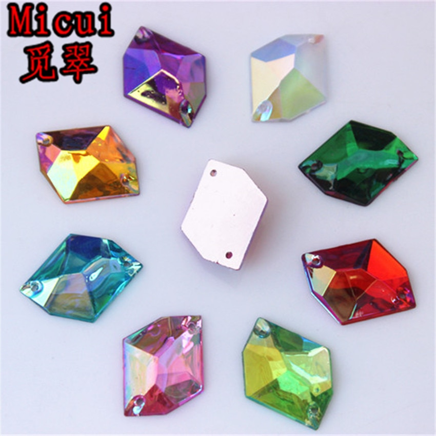 Micui 50pcs 13x17mm Acrylic Cosmic shape Crystal AB Sew On Stone Flatback Rivoli Sewing rhinestones 2 holes ZZ606