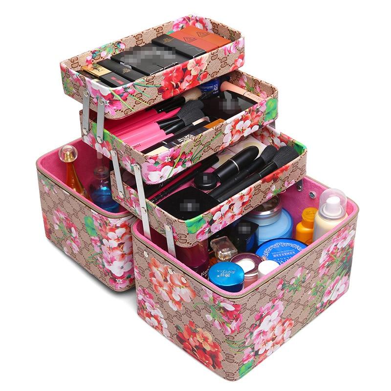 Estuche de cosméticos para mujer de flores de varios niveles, grande, profesional, caja de maquillaje, organizador, neceser de viaje, neceser, neceser, estuche