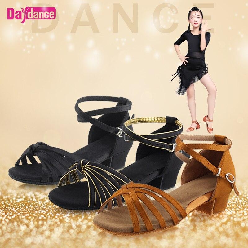 Zapatos de baile para niñas, zapatos latinos de satén, zapatos de tacón bajo para Tango Rumba Salsa, salón de baile Latino para mujeres