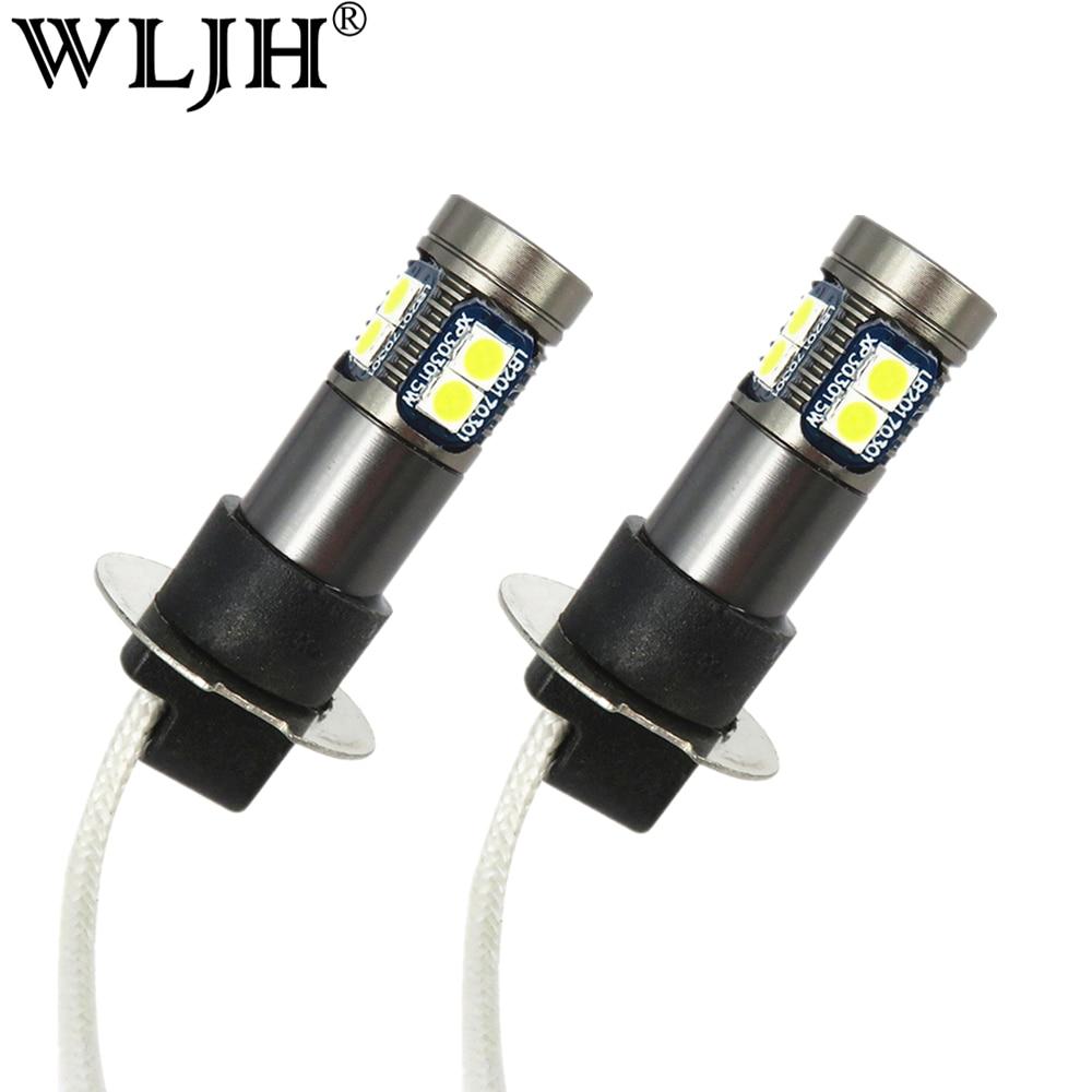 WLJH 2x12 V 24V H3 светодиодные противотуманные лампочки авто светодиодные лампы Canbus H3 Замена СИД DRL Противотуманные фары для Mazda Mitsubishi