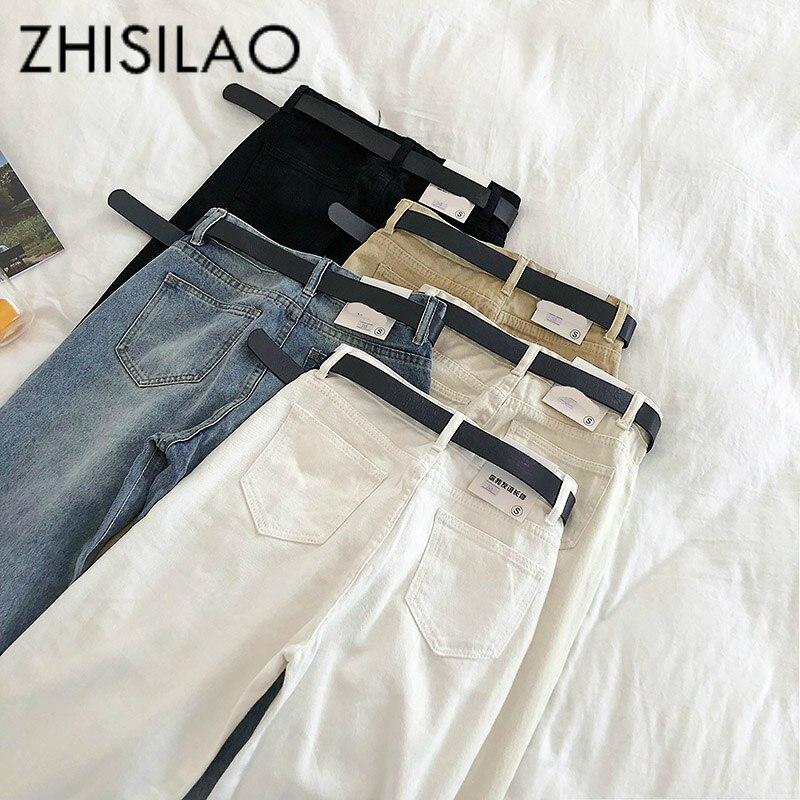 Calças de brim retas femininas sólido vintage jeans faixas casual cintura alta jeans plus size mãe namorados jeans 2019 calças de brim branco