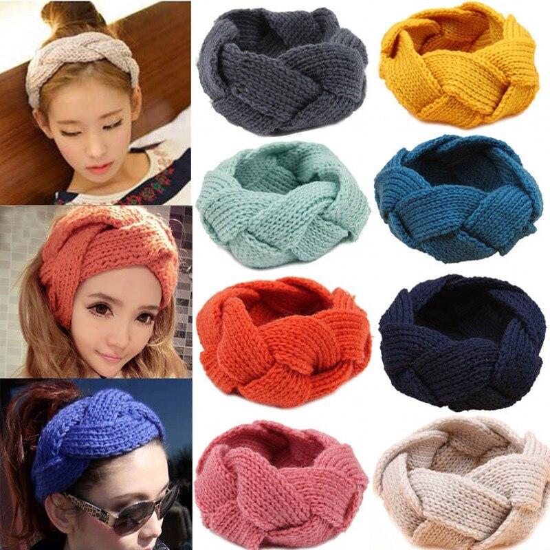Модная женская вязаная повязка на голову, вязаная крючком повязка на голову, Зимняя Теплая повязка на голову, мягкая коса