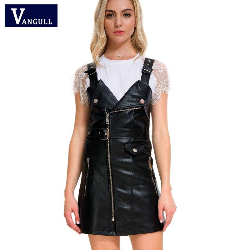 Vangull 2020 nuevo vestido de cuero para mujeres vestido de cuero sintético suave V Nck Sexy ajustado Retro negro Mini vestido de fiesta