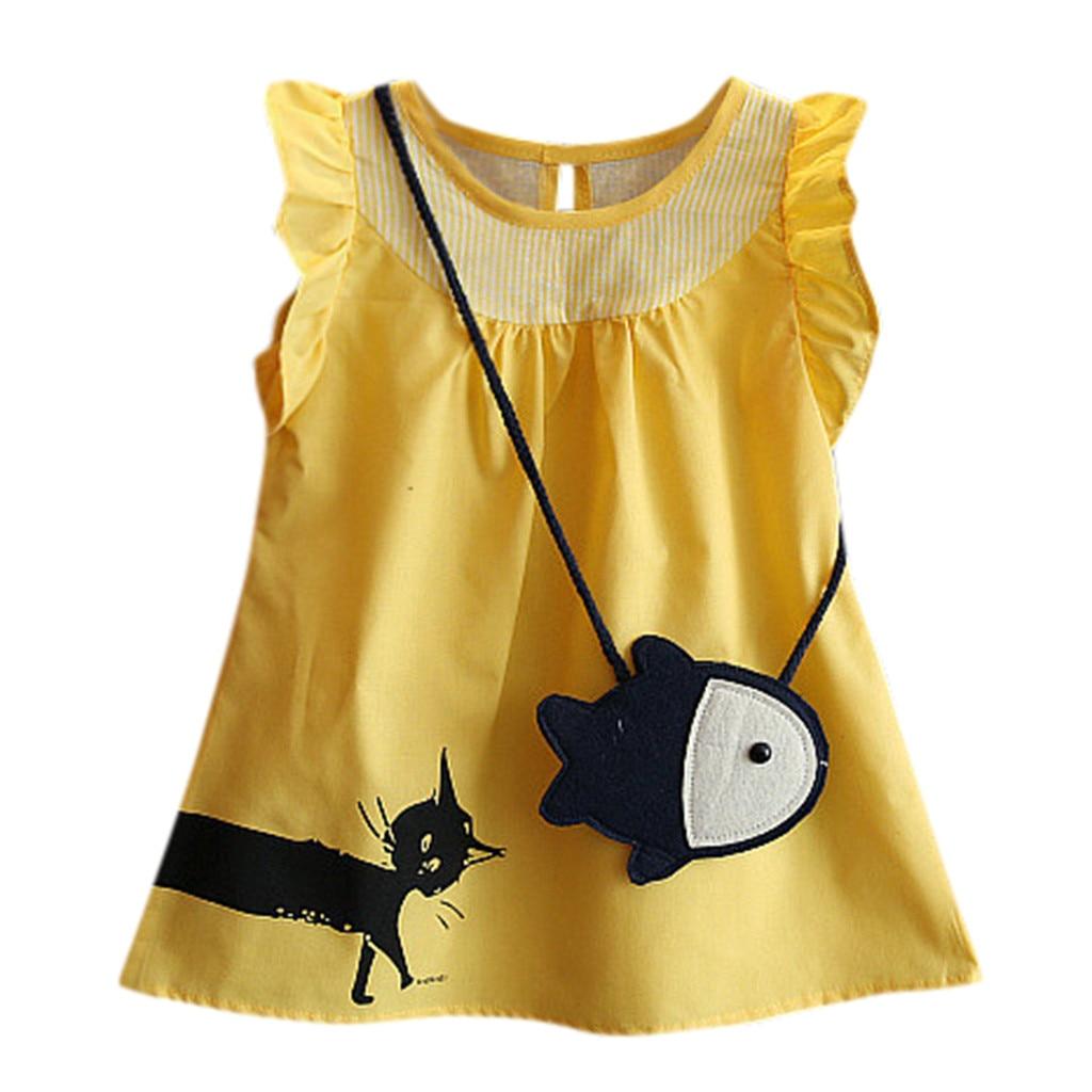 Летняя Новинка, модное милое платье без рукавов с рисунком рыбы для маленьких девочек + Повседневное платье принцессы с котом оптовая прода...