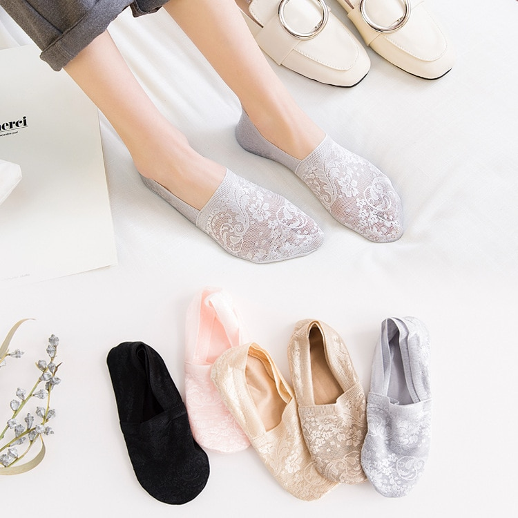5 Pairs Fashion Women Girls Summer Socks Style Lace Flower Short Sock Antiskid Invisible Ankle Socks New 7 colors