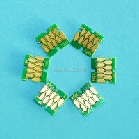 T7251 T7252 T7253 T7254 T7255A 6Pcs Compatible Cartridge Single Use Chip For Epson Surecolor SC F2000 Printers Chips K/C/M/Y/W/W