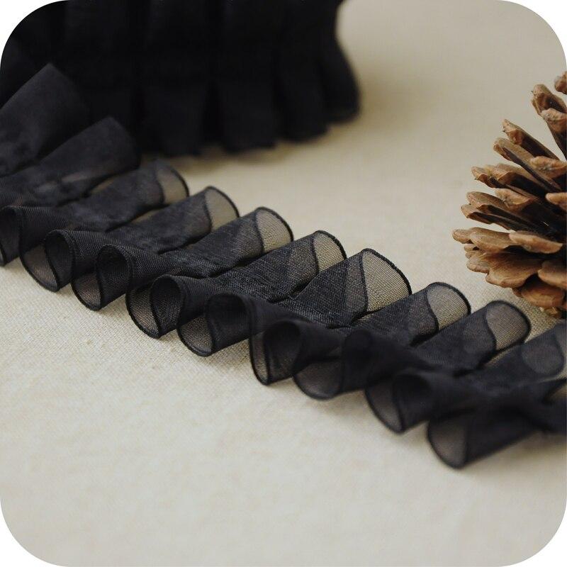 Último encaje de guipur Material de corte 3cm Malla tela plisada de encaje negro accesorios de costura adornos para ropa dentelle LX52