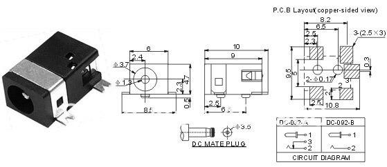 5 pines SMD SMT 3,5mm X 1,3 MM toma CC hembra PCB cargador enchufe de alimentación soldadura