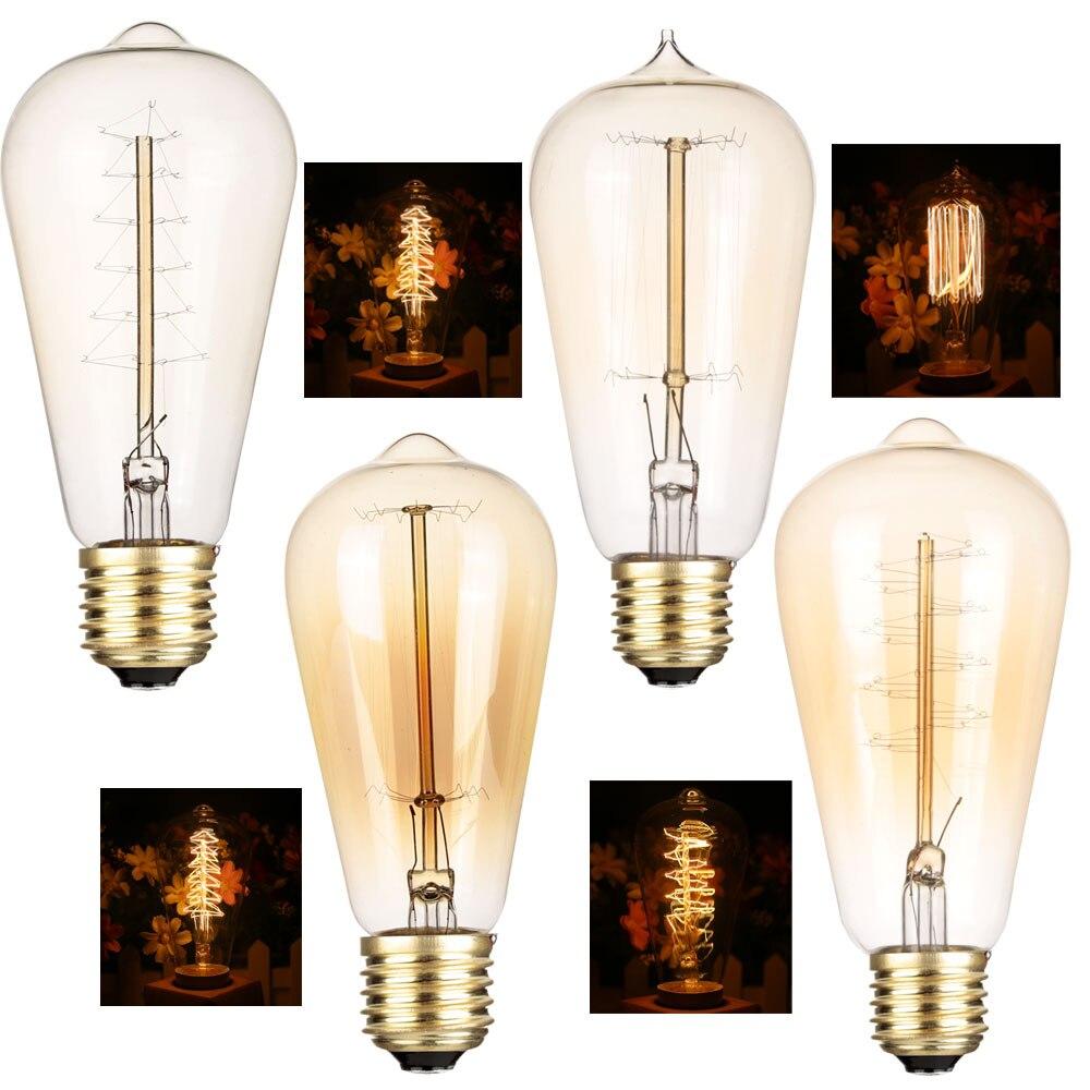 Bombilla Edison E27 Retro, lámpara de 40W ST64 ST58, ampolla Vintage, filamento...