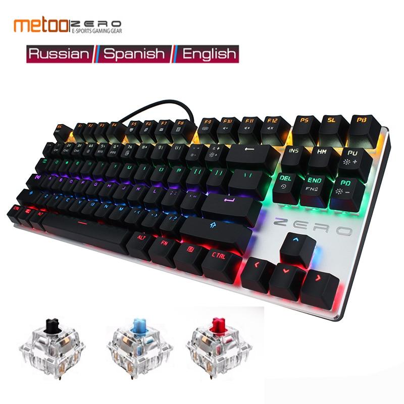 Teclado mecánico para videojuegos 87/104, interruptor LED retroiluminado, azul luminoso, rojo y negro, con cable ruso, francés, español, árabe