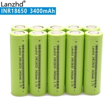 10PCS 100% New Original INR18650 3.7v 3400mah 18650 Lithium Rechargeable Battery For Flashlight batteries 18650 lithium Li ion