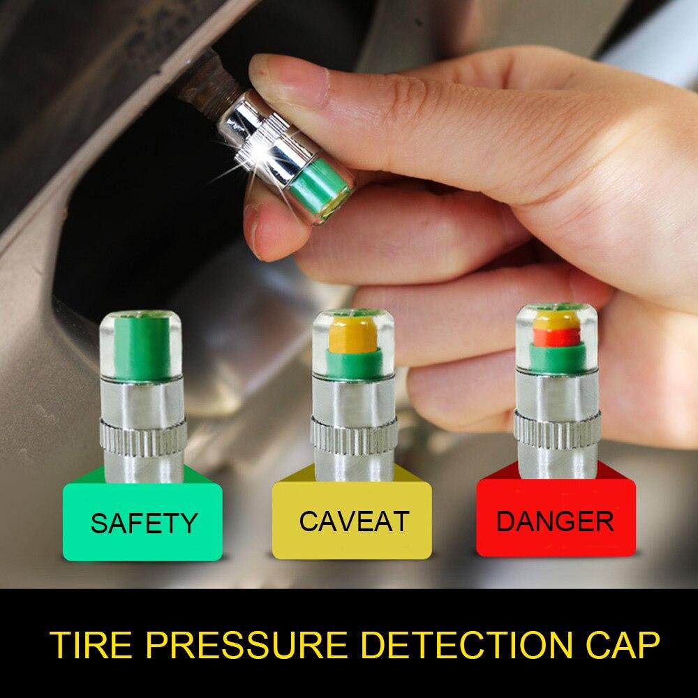 4 Uds Monitor de presión de neumáticos para automóvil TAPA DE manómetro sensor de alerta de gage de neumáticos tapas de válvula indicadora 2,4 Bar 30 PSI