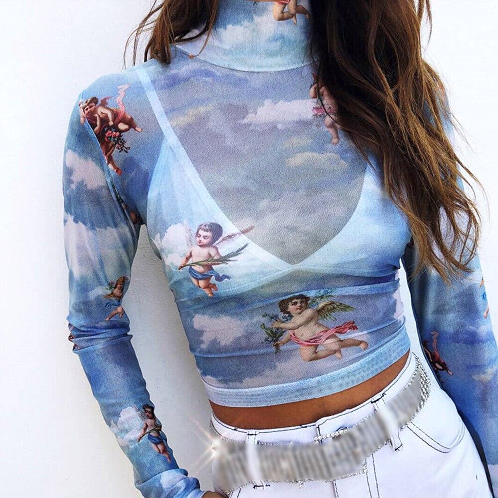 Macia Malha Colheita Top Pullover T-shirt Da Forma Das Mulheres de Manga Longa Sexy Ladies Slim Fit Férias de Verão Ver Através de Querubim Impresso