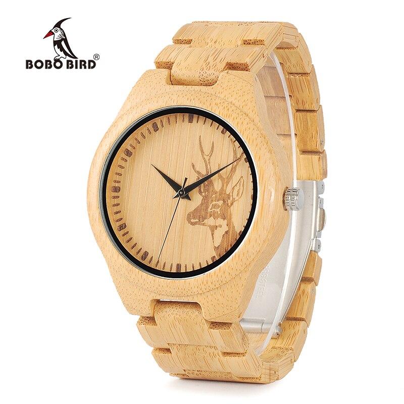 Бобо птица WD28 ПОЛНЫЙ Бамбук Деревянные часы для мужчин Горячие Лось голова оленя история дизайнерский бренд кварцевые наручные часы в подарочной коробке