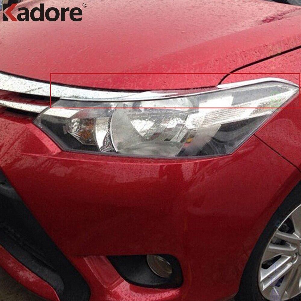 Для Toyota Vios Yaris 2013 2014 2015 2016 4dr Sedan ABS Хромированная передняя фара крышка для век отделка Стайлинг автомобиля