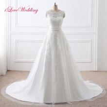 2019 Two Pieces Wedding Dress Lace Appliqued Scoop Neckline Short Bridal Gown With Removable Train Sleeveless Vestido De Noiva