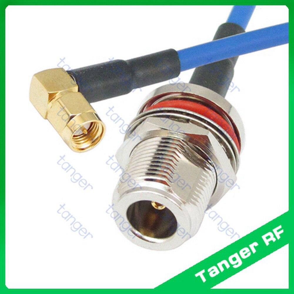 "N Hembra impermeable con tuerca a SMA macho ángulo recto con RG402 RG141 RG-402Blue RF puente coaxial 20 ""50cm Semi Flex Cable de baja pérdida"
