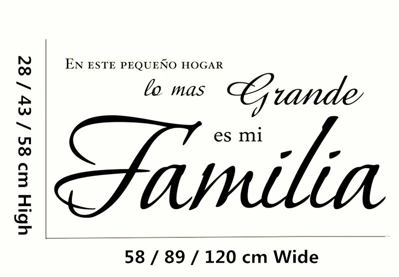 """""""En este pequeno hogar lo mas grande es mi Fa mi lia"""" calcomanía de vinilo español para pared, cita, pegatinas, decoración del hogar, Mural artístico"""