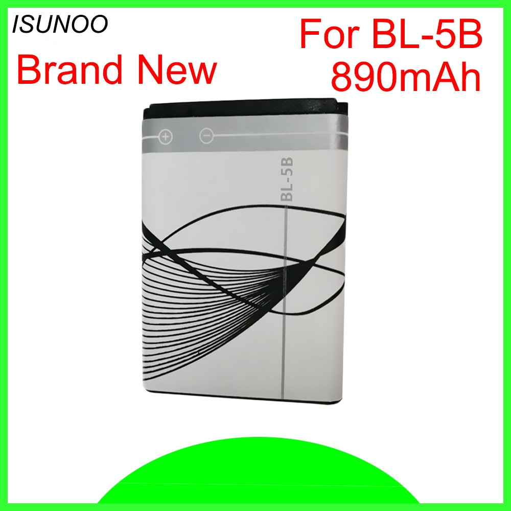 ISUNOO BL-5B BL 5B BL5B reemplazo móvil teléfono celular baterías para Nokia N80 N83 6120, 6021, 5300, 5208, 5140, 6020 Bateira