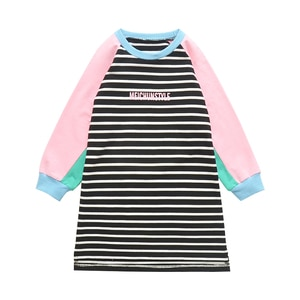 Kids Long Sleeve T-shirts For Girls Clothes Pullover Striped Dresses Spring Autumn Girls Tees Children Tops 2 4 6 8 10 12 Years