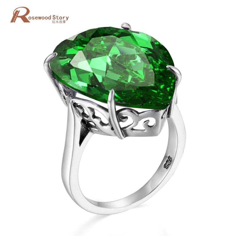 NoEnName_Null, joyería de plata de ley 925 pura Real, anillo grande de Esmeralda, anillo de boda Vintage hecho a mano para mujeres